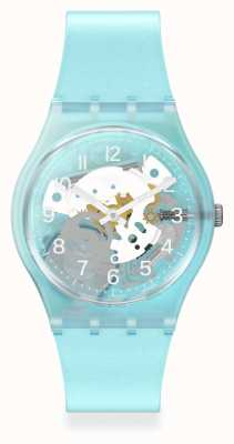 Swatch Morning Sky Blue Silicone Strap Watch GL125