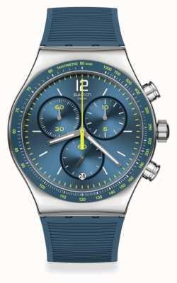Swatch Dateline Chronograph Rubber Strap Watch YVS482