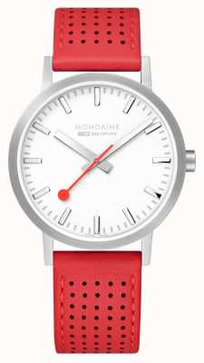 Mondaine Men's Classic White Dial Red Leather Strap 40mm Swiss Railwa A660.30360.16SBC