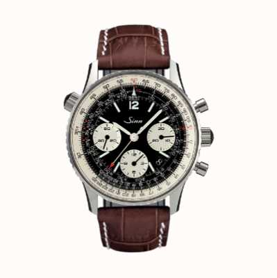 Sinn 903 St Black Dial Navigation Chronograph Alligator Embossed Leather Strap 903.040 BROWN LEATHER