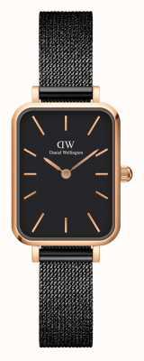 Daniel Wellington Women's Rectangular Rose-Gold and Black Watch DW00100433