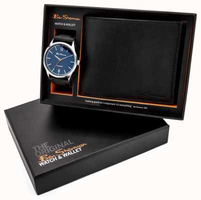 Ben Sherman Blue With 3 Hands + Watch Gift Set PC21 Movement Alloy Silver Polished 40 Case Mineral Glass PU Strap Black Strap 3ATM BS120G