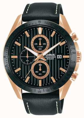 Lorus Sports Chronograph Quartz Black Leather Strap RM308HX9