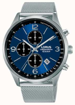 Lorus Chronograph Blue Dial Mesh Steel Bracelet RM315HX9