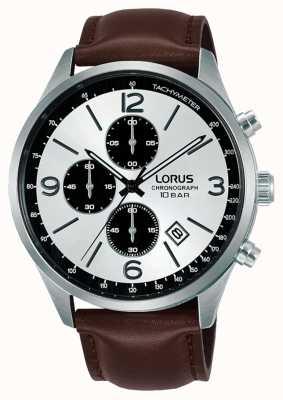 Lorus Chronograph White Dial Brown Leather Strap RM321HX9