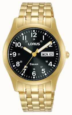 Lorus Classic 38 mm Quartz Watch Black Dial Yellow Gold RXN76DX9