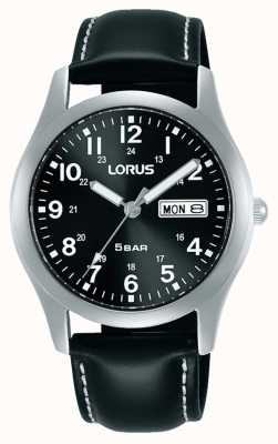 Lorus Classic 38 mm Quartz Watch Black Dial Leather Strap RXN79DX9