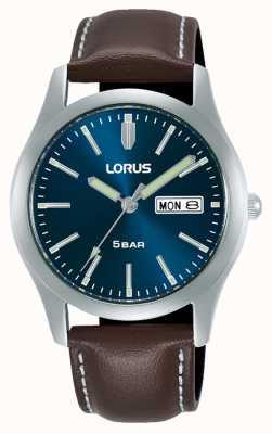 Lorus Classic 38 mm Quartz Watch Blue Dial Leather Strap RXN81DX9