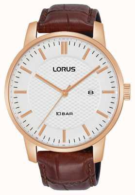 Lorus 42 mm Quartz White Dial Brown Leather Strap RH978NX9