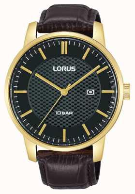 Lorus 42 mm Quartz Black Dial Brown Leather Strap RH980NX9