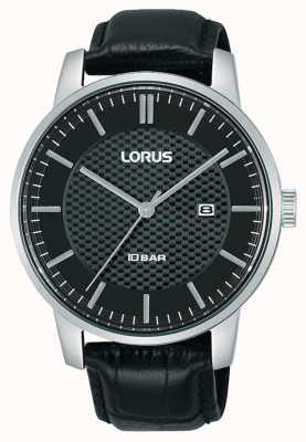 Lorus 42 mm Quartz Black Dial Black Leather Strap RH981NX9
