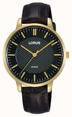 Lorus Women's Quartz Black Dial Brown Leather Strap RG276TX9