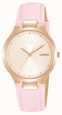 Lorus Women's Rose Gold Sunray Dial Pink Leather Strap RG210UX9