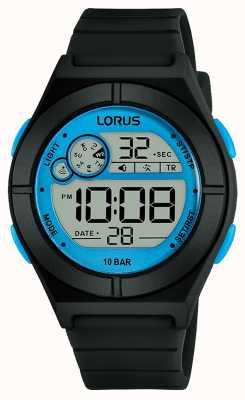 Lorus Women's Digital Watch Black Silicone Strap Blue Details R2361NX9