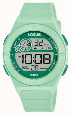 Lorus Digital Watch Mint Green Silicone Strap R2369NX9
