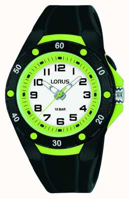 Lorus Kid's Black Silicone Strap Green Inner bezel R2375NX9