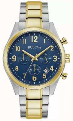 Bulova Chronograph | Blue Dial | Two Tone Steel Bracelet 98B346
