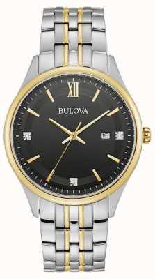 Bulova Mens | Black Dial | Two Tone Stainless Steel Bracelet 98D160