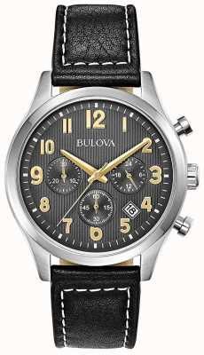 Bulova Chronograph Black Leather Strap Black Dial 96B302