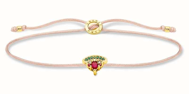 Thomas Sabo Little Secrets   Fawn Coloured Nylon Bracelet   Watermelon Charm LS126-488-7-L20V