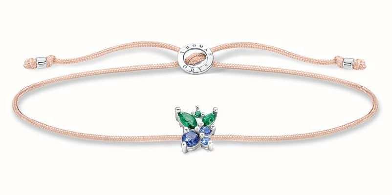 Thomas Sabo Little Secrets   Fawn Coloured Nylon Bracelet   Blueberry Charm LS128-166-7-L20V