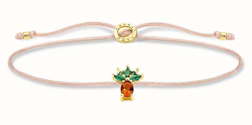 Thomas Sabo Little Secrets   Fawn Coloured Nylon Bracelet   Pineapple Charm LS129-472-7-L20V