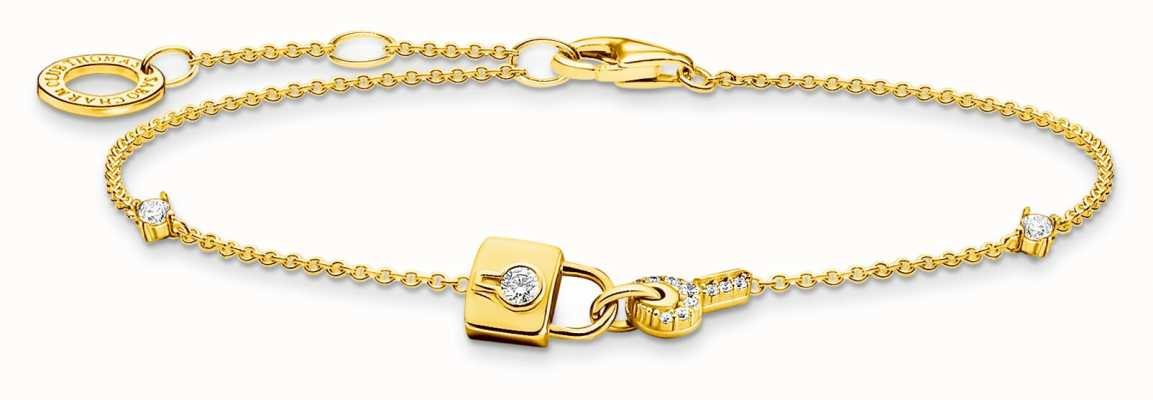 Thomas Sabo 18K Gold Plated Sterling Silver   Padlock And Key Charm Bracelet A2040-414-14-L19V