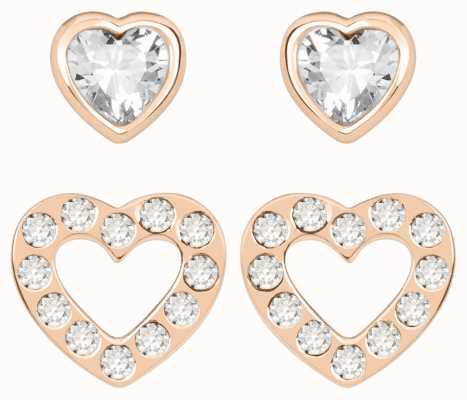 Radley Jewellery Love Radley   Rose Gold Plated Hearts Stud Earring Set   White Stones RYJ1178