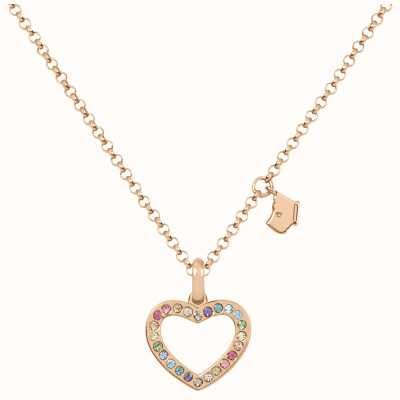 Radley Jewellery Love Radley | Rose Gold Plated Sterling Silver Heart Necklace | Colourful Stones RYJ2182