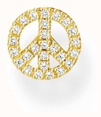 Thomas Sabo Sterling Silver 18K Yellow Gold Plated Peace Single Stud Earring H2218-414-14