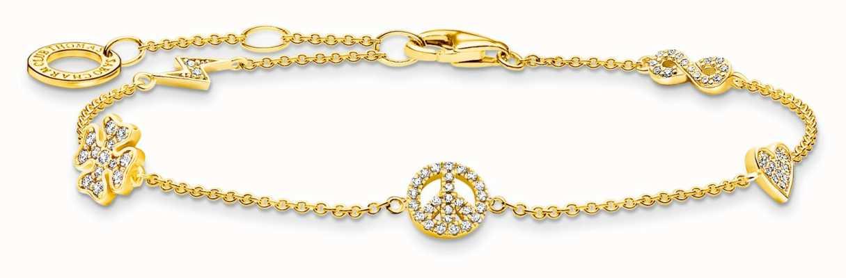 Thomas Sabo Sterling Silver 18k Yellow Gold Plated Powerful Symbols Bracelet A2039-414-14-L19V
