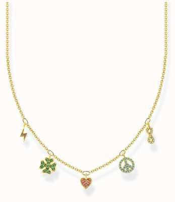 Thomas Sabo Charm Club | Gold Plated Sterling Silver | Multi coloured Symbols | Necklace KE2123-488-7-L42V