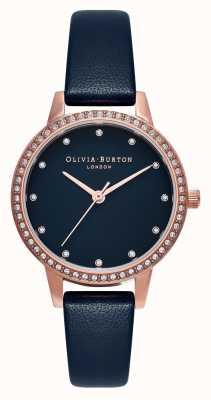 Olivia Burton Midi Navy Mother Of Pearl Sparkle Bezel, Rose Gold & Navy Watch OB16MD99