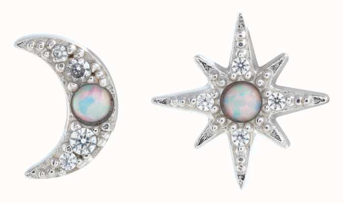 Olivia Burton North Star & Moon Opal, Silver Stud Earrings OBJCLE55