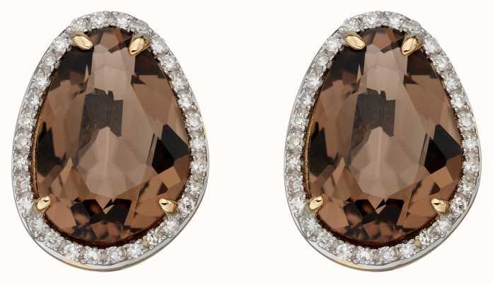Elements Gold 9ct Yellow Gold Irregular Smoky Quartz Earrings GE2383Y
