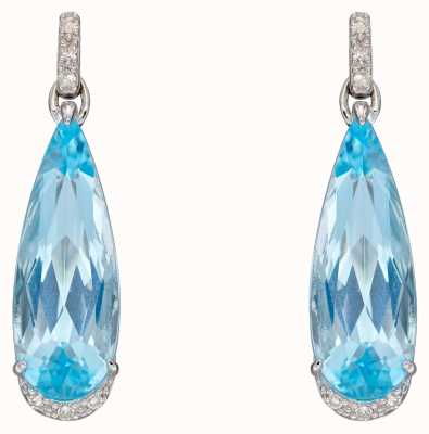 Elements Gold 9ct White Gold Blue Topaz Diamond Tear Drop Earrings GE2385T