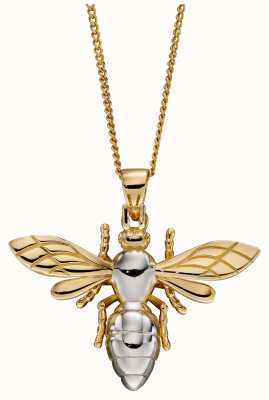 Elements Gold 9ct Yellow White Gold Large Detail Bee Pendant GP2270