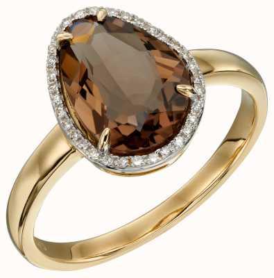 Elements Gold 9ct Yellow Gold Irregular Smoky Quartz Diamond Ring GR585Y