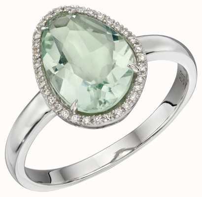 Elements Gold 9ct White Gold Diamond Irregular Green Fluorite Ring GR574G56