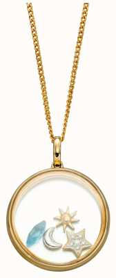 Elements Gold 9ct Yellow Gold Blue Topaz Diamond Astrology Globe Pendant GP2244T