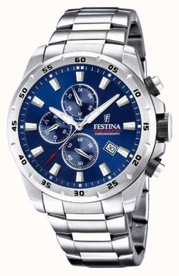 Festina Chronograph Blue Dial Stainless Steel Strap F20463/2