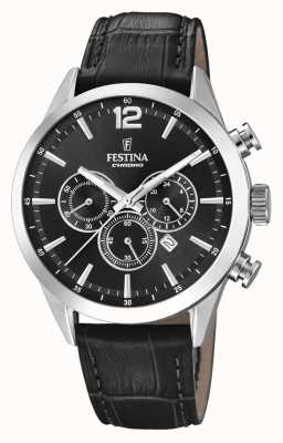 Festina Chronograph Black Leather Strap F20542/5
