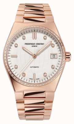 Frederique Constant Women's Highlife | Rose Gold Plated Bracelet | Diamond Dial | Extra Strap FC-303VD2NHD4B