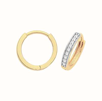 James Moore TH 9ct Yellow Gold Hinged Cubic Zirconia Set Hoops ER001-08