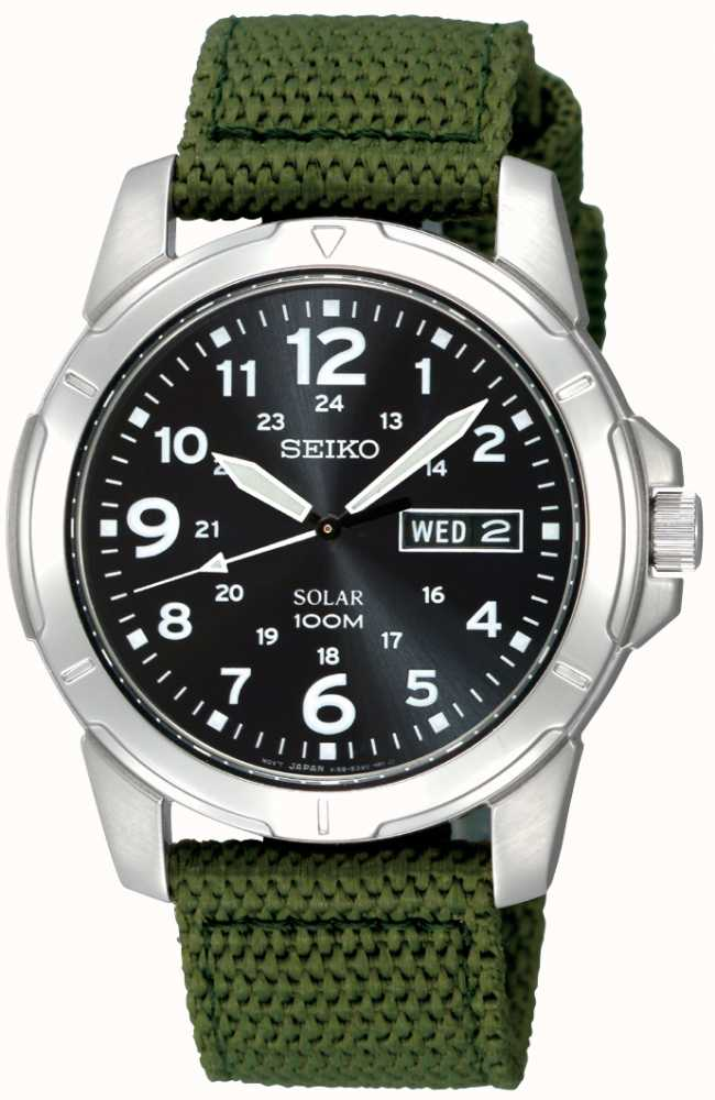 Seiko mens solar powered canvas strap sne095p2 first class watches for Solar power watches