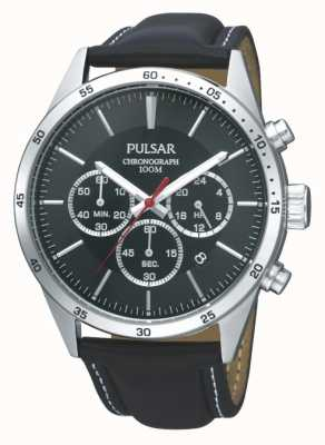 Pulsar Mens Black leather Strap Black Chronograph Dial PT3009X1