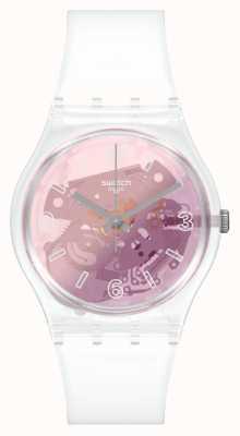 Swatch Original Gent Pink Disco Fever Skeleton Dial Watch GE290