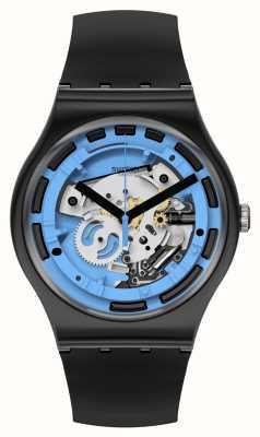 Swatch New Gent Blue Anatomy Black Silicone Watch SUOB187