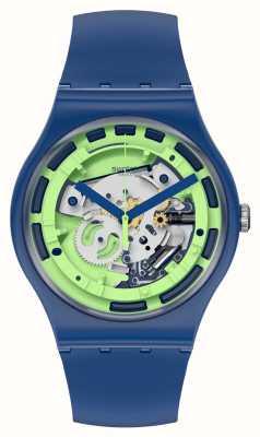 Swatch New Gent Green Anatomy Blue Silicone Watch SUON147