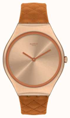 Swatch Skin Irony Brown Quilted Brown Leather Strap SYXG115